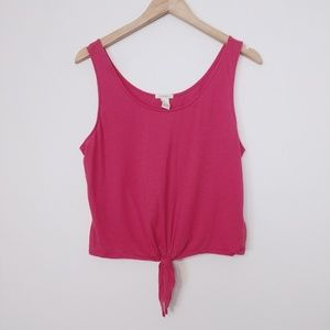 Forever 21 Large Soft Tie Tank Crop Knot Top